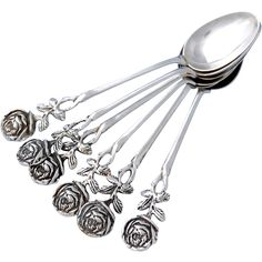 Vintage Set of Six German .800 Silver Coffee Spoons with Rose design