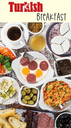 A look at the generous Turkish breakfast which features fresh bread, pastries, cold cuts, eggs, spreads, jams, cheese, veggies, and more!   cookingtheglobe.com