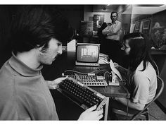 Steve Jobs and Steve Wozniak with Apple-1 computer. Steve Jobs (left) and Steve Wozniak (right) met in a friend's garage in the late 1960s. The two of them bonded over their shared interest in electronics and practical jokes. Courtesy of Joe Melena 1976-04 © Apple Computer, Inc.