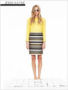 Stripey jacquard skirt and yellow silk blouse Jenni Kayne S/S 2013
