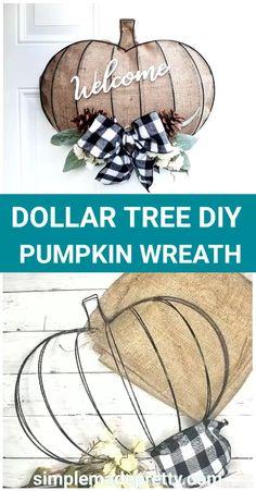 Dollar Tree Pumpkins, Dollar Tree Fall, Dollar Tree Decor, Dollar Tree Crafts, Dollar Tree Halloween Decor, Diy Halloween Wreaths, Fall Halloween, Rustic Halloween, Halloween Deco Mesh