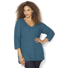Avenue Shaker Stitch Pullover Sweater ($39) ❤ liked on Polyvore featuring tops, sweaters, plus size, teal, blue pullover sweater, 3/4 sleeve sweaters, blue sweater, pullover sweater and plus size 3/4 sleeve tops