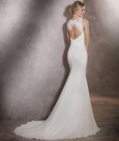 Arlet - Vestido de novia gasa y tul, detalles flores y escote espalda