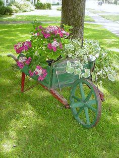 Antique Wheel Barrel Farmhouse Chic Red Green Wood Cottage Garden Container Full Size Primitive Original Paint