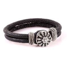 1 PC Black Faux Leather Braided Bracelet for by FeelGoodBoutique