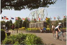 https://flic.kr/p/ym9Vnz | Postcrossing US-3587846 | Postcard with a photo of the Keeling-Puri Peace Plaza in Rockford, Illinois.  Flags from 40 different countries are displayed in this park as well as carvings in 30 different languages.  The park is dedicated to peace, tranquility and celebrating diversity and heritage. Sent to a Postcrosser in Canada.