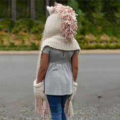 606a518d Kids Unicorn Winter Crochet Hat with Scarf Pocket Hooded Knitting Beanie -  B - CT187N2WQMC