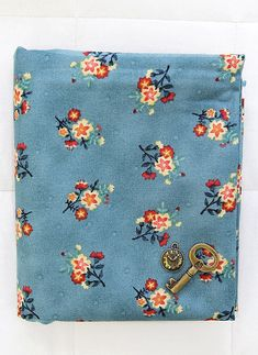 Cotton Fabric Star Flowers  Blue  By the Yard 40387 by landofoh