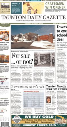 The front page of the Taunton Daily Gazette for Wednesday, Feb. 25, 2015.