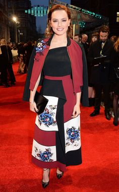 Daisy Ridley from 2017 BAFTA Film Awards: Red Carpet Arrivals The Star Wars: The Force Awakens star wears a color-blocked frock.