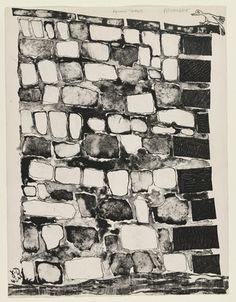 Jean Dubuffet. Bird Perched on the Corner of the Wall (Angle de mur à l'oiseau perché) from the supplementary suite for the book Les Murs by Eugène Guillevic. 1945