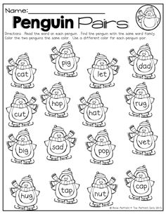 Find the two penguins that have the same word family and color them! Fun way to practice CVC words! by Amy Dulac Watkins Rhyming Worksheet, Free Kindergarten Worksheets, Kindergarten Literacy, Worksheets For Kids, Literacy Centers, Printable Worksheets, Free Printables, Rhyming Words, Word Families