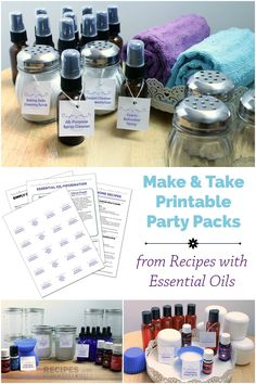 Printable Party Packs for your own Essential Oil Make & Takes! Complete with everything you need including table cards, labels and a shopping list.