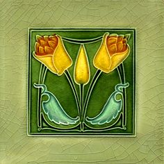 """107 Art Nouveau tile by Simpson (1907). Courtesy of Robert Smith from his book """"Art Nouveau Tiles with Style"""""""