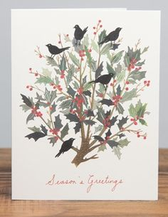 Black Bird Wreath | Red Cap Cards | Illustrated greeting card by Becca Stadtlander #holidays