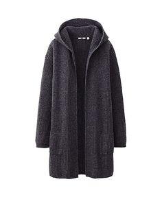 WOMEN HEAVY GAUGE SWEATER COAT by UNIQLO Sweater Coats, Sweaters, Hooded Sweater, Knit Cardigan, Office Fashion Women, Womens Fashion, Crochet, What To Wear, Winter Fashion