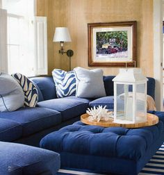 Beachy And Coastal Style Living Room Ideas 50 Ottoman In Living Room, Living Room Sets, Living Room Furniture, Living Room Decor, Living Area, Navy Blue Sectional, Navy Couch, Interior Design Living Room, Living Room Designs