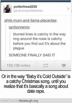"I'm happy I'm not the only one who noticed how creepy ""Baby it's Cold Outside. "" was."