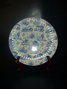 Royale Garden Chintz Collection Dinner Plate Toile Blue Staffordshire England #ChintzColletionRoyaleGarden