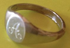 """Vintage Modernist Era/Style """"A""""  Monogram  Sterling Silver Ring Size 3.5 pinky #unknown #classic"""