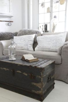 Very dark and weathered trunk used as coffee table