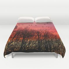 Farewell day Duvet Cover by Pirmin Nohr - $99.00 A real dawn in winter, I only added the birds, another photo of my own.   Nature, trees, sky, clouds, red, silhouettes