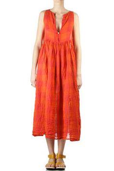 DANIELA GREGIS - Large Check Linen Dress :: Ivo Milan