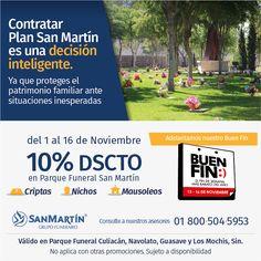 Solo durante el #BuenFin aprovecha el 10% de descuento al contratar Plan San Martín para criptas, nichos y mausoleos en Parques Funerales San Martín #Culiacán #Navolato #LosMochis y #Guasave en #Sinaloa.