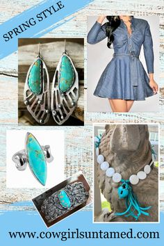 Beautiful turquoise jewelry at COWGIRLS UNTAMED! Date night perfection! 925SS FAIRY WING EARRINGS & ring, cuff, handmade turquoise heart necklace, ruched top dress FREE USA SHIPPING w/FREESHIP21 COWGIRLS UNTAMED wholesale & retail #jean #dress #sexy #short #turquoise #women #fashion #oufit #earrings #sexy #summerfashion #springfashion #dangle #onlineshopping #wholesale #clothing #cowgirl #westernwear #freeshipping #ring #bracelet #silver #heart #beaded #necklace #handmade #jewelry #925SS Cowgirl Style Outfits, Cowgirl Dresses, Cowgirl Fashion, Cowgirl Jewelry, Boho Jewelry, Handmade Jewelry, Latest Fashion Trends, Fashion Ideas, Western Parties
