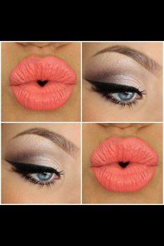 Color durazno en los labios, súper tierno, resalta un maquillaje en tonos cafés!!