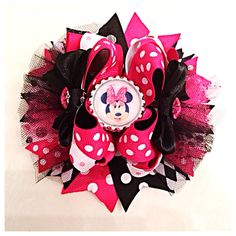 Hot pink and black Minnie Mouse hair bow by JaynisBowBoutique