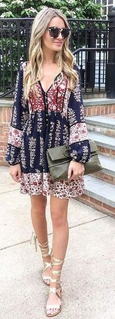 #feminine #style #summer #outfitideas   Adorable Printed Summer Dress