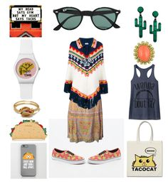 """""""Taco Time"""" by creation-gallery ❤ liked on Polyvore featuring Forever 21, Vans, Valentino, Yves Saint Laurent and Ray-Ban"""