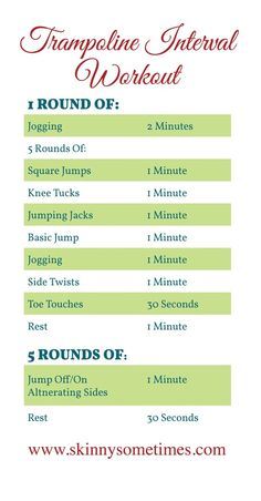 trampoline workout add toe touches pikes and tucks...great to get the kids on board