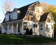 Shingle Style Dutch Colonial Exterior - traditional - exterior - minneapolis - by Ron Brenner Architects Dutch Colonial Exterior, Dutch Colonial Homes, Colonial House Plans, Traditional Exterior, Colonial Cottage, Traditional Homes, Exterior House Colors, Interior Exterior, Exterior Design