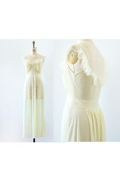 1950s nightgown / Low Back Ruffled Night Gown / by LantanaVintage, $42.00