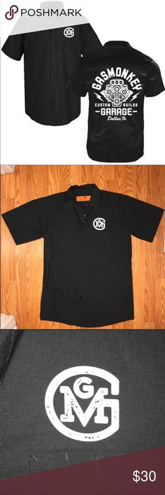 Gas Monkey Garage Work-Shirt Distressed Engine Official Licensed Merchandise  This T-Shirt is perfect for all seasons and styles. Team it up with your favorite jeans for a classic look that will never go out of fashion. Made of 65% Polyester and 35% Cotton, it features a printed design.   •Soul release and wickable finish •Two button-through pockets •Left pocket has a pencil stall Red Kap Shirts Casual Button Down Shirts