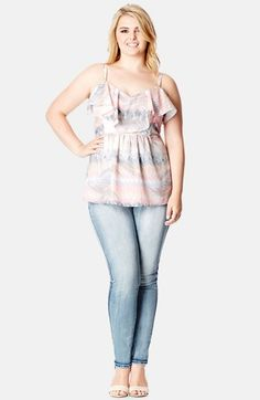 City Chic Palm Print Strappy Top (Plus Size) available at #Nordstrom