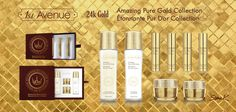 "1st AVENUE cosmetics - ""Amazing Pure Gold collection"". 24K Gold treatment. 1. Toner - 140ml. Detoxification & Soothing. 2. Lotion - 140ml. Cell activation & Nourishing. 3. Serum - 10ml x 4. Skin rejuvenating. 4. Facial cream - 50ml. Brightening & Cell renewal. 5. Eye cream - 30ml. Brightening & Anti-aging."
