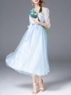 Blue Plain Elegant Paneled A-line Midi Dress