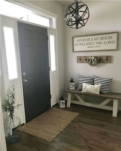 42 Cozy Living Room Farmhouse with Grey Paint Ideas. 42 Cozy Living Room Farmhouse with Grey Paint Ideas. Entryway Paint Colors, Front Entryway Decor, Entryway Lighting, Rustic Entryway, Entryway Rug, Foyer Paint, Entryway Chandelier, Foyer Wall Decor, Paint Doors