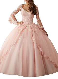39fefedae47 Shang Womens Lace Quinceanera Dress V-Neck Ball Gown Pink US 2