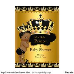 Royal Prince Baby Shower Black Gold Ethnic 5x7 Paper Invitation Card
