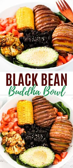 Black Bean Buddha Bowl - SIMS HOME KITCHEN This black bean Buddha bowl has all the goodies – Hasselback potatoes, corn, cauliflower and more! Get ready to feel zen while eating this delicious bowl. Lunch Recipes, Vegetarian Recipes, Dinner Recipes, Healthy Recipes, Healthy Eats, Delicious Recipes, Easy Recipes, Roasted Cauliflower, Cauliflower Recipes
