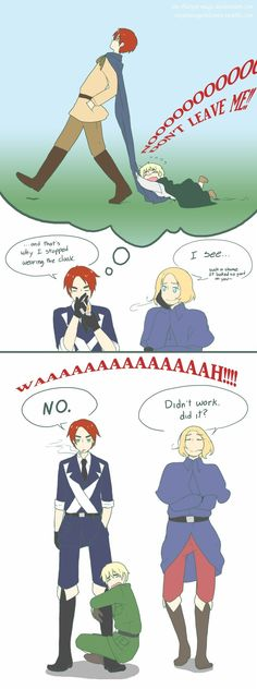 Scottland, France, and England (Wow...Well, at least you can wear the cape again) from: Hetalia