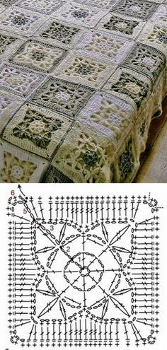 Crochet motif diagram with afghan image reference.