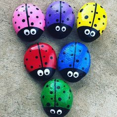Very cute ladybug painted rocks! I have red, blue, yellow, and orange pre made. They are between 2 3 inches for length and width. These stones are the perfect garden accessory and would make a great gift for anyone who loves ladybugs! This listing is for Rock Painting Patterns, Rock Painting Ideas Easy, Rock Painting Designs, Paint Designs, Rock Painting For Kids, Ladybug Rock Painting, Summer Painting, Painted Rock Animals, Painted Rocks Craft