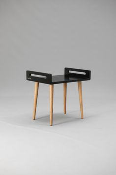 Wooden Stool / tray / bench made of black lacquered by Habitables