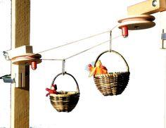 Körbchen-Seilbahn  €18,90  Über zwei Stationen läuft ein Seil, an dem zwei Körbchen befestigt sind, die mittels Kurbeln bewegt werden können. Die Stationen werden mit beiliegenden Zwingen an Regalen und Tischen fixiert. Zum Spielen sehr beliebt bei Kindern ab 4 Jahren, Zusammenbau ab 8 Jahren. Kompletter Bausatz aus Holz mit zwei Körbchen und 10 m Schnur, ohne Püppchen.