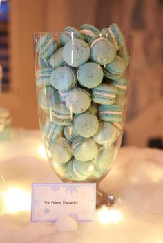 Ice palace macarons at a Frozen birthday party! See more party planning ideas at CatchMyParty.com!